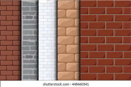 Brick texture vector background. Set texture of a  tile. Cartoon background for game elements isolated.