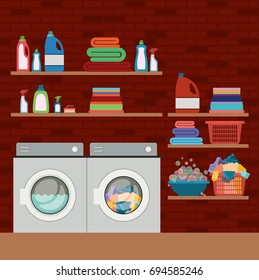 brick wall background of clothes with wash machines and elements of home laundry vector illustration
