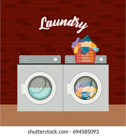 brick wall background of set wash machine laundry an pile dirty clothes in plastic basin vector illustration