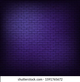 Brick wall background. Wallpaper is dark purple with shadows on the edges. Background for neon illustrations and other design works.