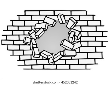 Brick wall break through black vector illustration