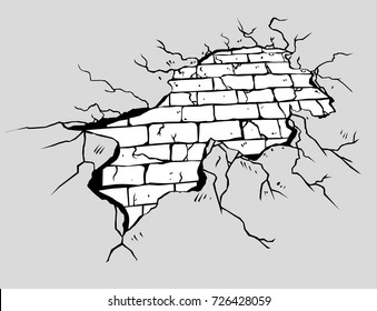 The brick wall breaks.