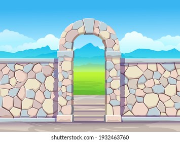 Brick wall with door arch.Park illustration with fountain.  Vector illustration in cartoon style