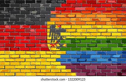Brick Wall Germany and Gay flags - Illustration