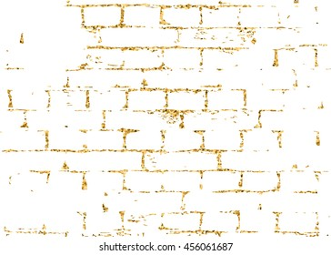 Brick wall gold texture pattern. Golden and white abstract decorative tile background. Grunge retro surface. Old brickwork silhouette. Urban design for wallpaper, card, decoration. Vector Illustration