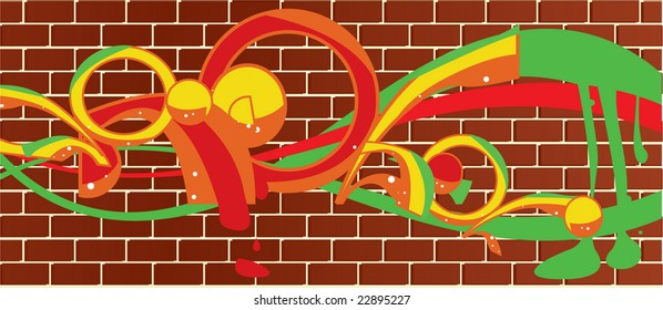 Brick wall graffitti - vector