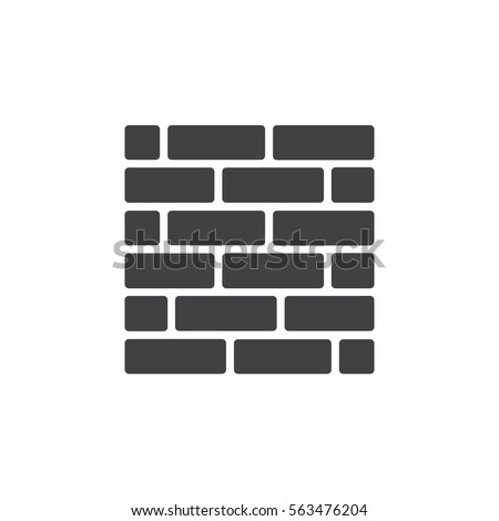 Brick Wall Icon Vector Filled Flat Stock Vector Royalty Free