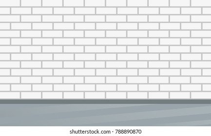Brick wall. Interior design template with brick pattern. Vector illustration.