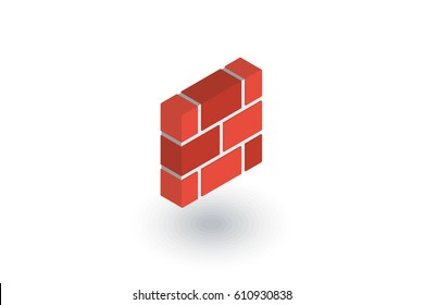 brick wall isometric flat icon. 3d vector colorful illustration. Pictogram isolated on white background
