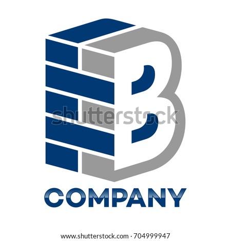 B Logo brick wall letter b logo stock vector (royalty free) 704999947