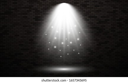 Brick wall with light spot. Isolated light effect of white color on dark brick wall background. Vector illustration