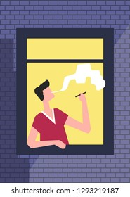 Brick wall with open window man smoking cigarette vector smoke male character leaning on windowsill looking out on street from apartment building or flat male character in shirt and harmful habit.