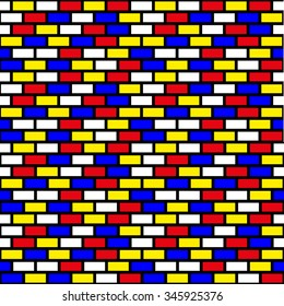Brick wall pattern in primary colors