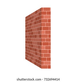 Brick wall perspective isolated on white background. Vector illustration