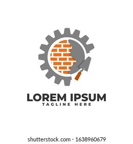 Brick Wall Plaster with Gear and Pock Logo Vector Icon Illustration