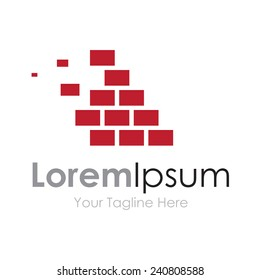 Brick wall red masonry strong element icon for business logo