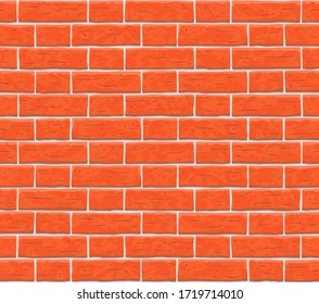Brick wall seamless pattern background. Texture of red, orange cartoon brick wall vector pattern illustration. Square old seamless brick texture background.