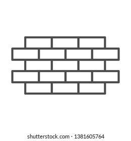 Brick wall thin line icon. Bricks vector illustration isolated on white. Brickwork outline style design, designed for web and app. Eps 10