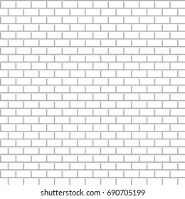 brick wall. white background. simple shapes. vector seamless pattern.