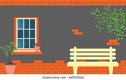 Brick wall with window, tree green branches, bench and plants in sacks vector outdoor interior illustration