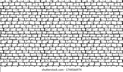 Brick White Wall seamless pattern, old rectangle bricks for poster on house facade decoration, exterior, rough vintage interior of room, tool shop, DIY store, garden center or graffiti art. Vector