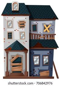 Brickhouse in poor condition illustration