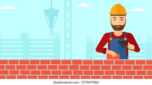 Bricklayer with spatula and brick.
