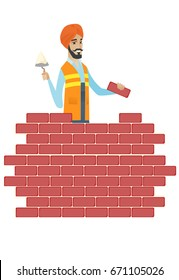 bricklayer in uniform and headscarf. Bicklayer working with spatula and brick on construction site. Bricklayer building brick wall. Vector flat design illustration isolated on white background.