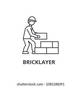 bricklayer vector line icon, sign, illustration on background, editable strokes