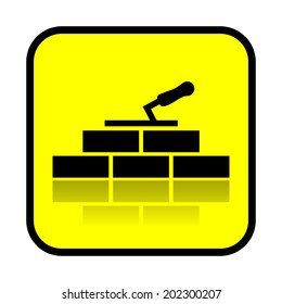 Bricklaying, construction sign, vector
