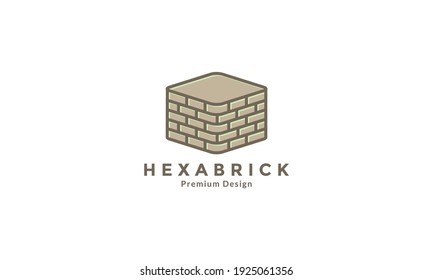 bricks hexagon build logo design vector icon symbol illustration