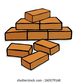 bricks stack / cartoon vector and illustration, hand drawn style, isolated on white background.