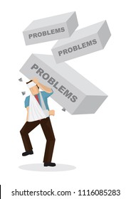 Bricks with a title problems falling down on injured businessman. Concept of misfortune, sabotage or crisis happening on the corporate world. Vector illustration.