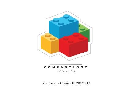 bricks toys Icon monogram letter text alphabet logo design