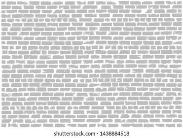 Brickwork gray and white vector grunge background. White silicate brick wall. Brick grunge texture. Vector illustration