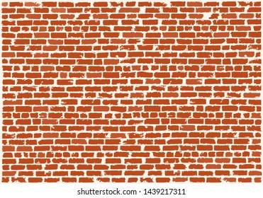 Brickwork of red refractory bricks. Red brick wall. Vector grunge background. Brick grunge texture. Vector illustration