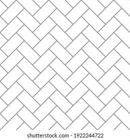 Brickwork texture seamless pattern. Simple appearance of Header brick bond. Zigzag masonry design. Seamless monochrome vector illustration.