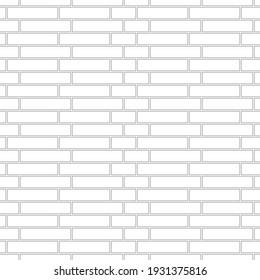 Brickwork texture seamless pattern. Simple appearance of Silesia brick bond. Traditional masonry design. Seamless monochrome vector illustration.