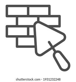 Brickwork and trowel line icon, house repair concept, Bricklaying sign on white background, Brick wall trowel icon in outline style for mobile concept and web design. Vector graphics