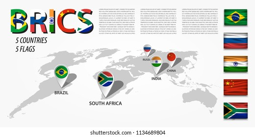 BRICS . association of 5 countries ( brazil . russia . india . china . south africa ) . Perspective world map and GPS navigator location pin with national flag of membership . Vector .