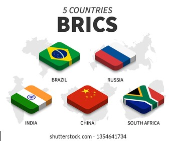 BRICS flag . association of 5 countries and map on white background . Isometric top design . Vector .