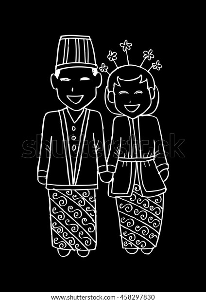 Bridal Couple Java Cartoon Style Stock Vector (Royalty Free) 458297830