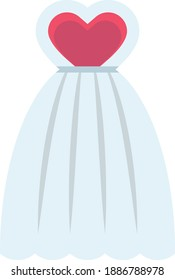 Bridal Dress with Pink Heart Design, Wedding Day Female Fancy Frock Gown Vector Color Icon Design, Love and Romance Theme Girl Dress on White Background