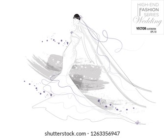 A bridal fashion vector illustration of a women wearing a white wedding dress, with the colour of the year 2018- ultra violet as the accent colour. Sketch with a minimalist style showing a long veil.