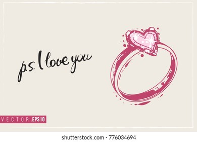 Bridal greeting card engagement ring text stock vector royalty free bridal greeting card with engagement ring and text ps i love you tender pink m4hsunfo