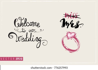 Bridal greeting card with engagement ring composition and text: welcome to our wedding. Tender pink composition for wedding, nuptials, hen-party invitation cards.