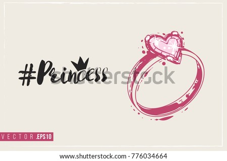 Bridal greeting card engagement ring text stock vector royalty free bridal greeting card with engagement ring and text princess hashtag tender pink composition for m4hsunfo