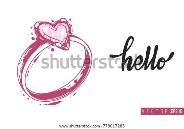 Bridal Greeting Card Engagement Ring Text Stock Vector