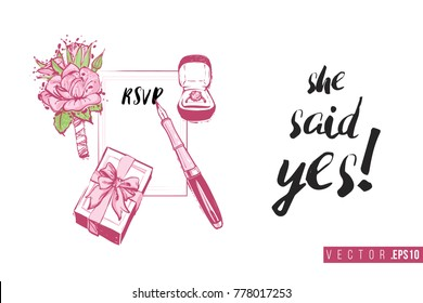 Bridal greeting card with marriage accessories and text: she said yes. Tender pink composition for wedding, nuptials, hen-party invitation cards. Isolated vector art in watercolor style.