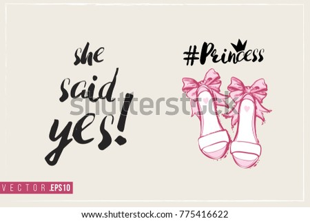 Bridal greeting card princess shoes text stock vector royalty free bridal greeting card with princess shoes and text she said yes tender pink composition m4hsunfo